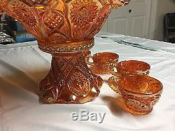Antique Imperial Glass Marigold Carnival Glass Punch Bowl, Stand, & (4) Cups
