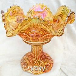 Antique Imperial Glass Twins Marigold Carnival Glass Punch Bowl & Stand 10.25