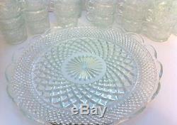 Antique L. E. Smith Daisy & Button Crystal Punch Bowl, 38 Piece Set 35 cups