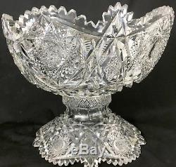 Antique Libbey ABP Cut Glass Punch Bowl & Base Somerset Pattern I think