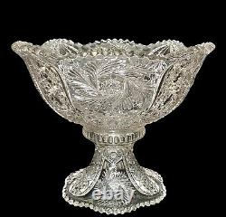 Antique McKee Glass ca 1905 American Pres-Cut WILTEC Punch Bowl & Base Exc 14