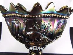 Antique Northwood Carnival Glass Black Amethyst Peacock & Fountain Punch Bowl