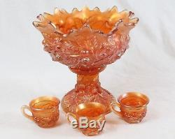 Antique Northwood Carnival Glass Punch Bowl & 3 Cups Acorn Burrs Marigold