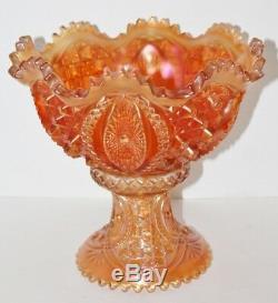 Antique Northwood Marigold Carnival Glass Punch Bowl Memphis Pattern N Mark
