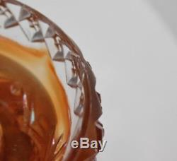 Antique Northwood Marigold Carnival Glass Punch Bowl Memphis Pattern N Mark