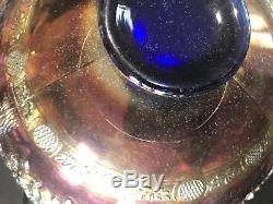 Antique Orange Tree Blue Carnival Glass Punch Bowl