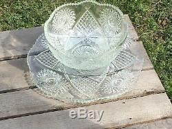 Antique Punch Bowl McKee Sawtooth Cut Glass & Matching Serving Plate