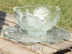 Antique Sawtooth Cut Glass Punch Bowl & Matching Snack Cut Glass Plate Dish