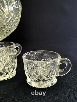 Antique U. S. Glass #15041 clear pressed glass punch set PINEAPPLE & FAN c. 1895