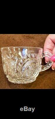 Antique US Glass Co EAPG Slewed Horseshoe Radiant Daisy Punch Bowl Set 19 cups