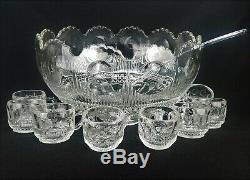 Antique US Glass Manhattan Clear Punch Bowl With 24 Matching Cups & Glass Ladle