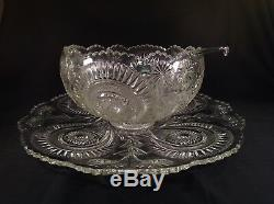 Antique US Glass Slewed Horseshoe Punch Bowl, Underplate, 18 Cups & Glass Ladle