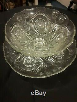 Antique Very Rare LE Smith Punch Bowl with2 Sets of 12 cups withunderplate Tray 22