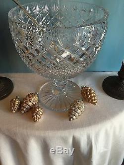 Antique Vintage Cut Glass Crystal Large Punch Bowl Centerpiece Dish With Ladle