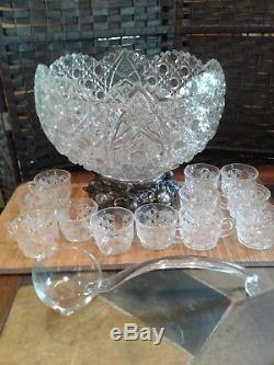 Antique Vintage L. Smith Pressed Glass Daisy And Button Punchbowl Gold Stand