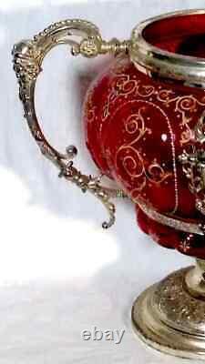 Antique WMF Cranberry Glass Punch Bowl