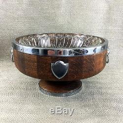 Antique Wooden Fruit Bowl Oak Lion Mask Handles Glass Dish Centerpiece Punch