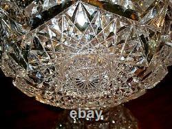 Antique vintage brilliant period cut glass lead crystal punch bowl