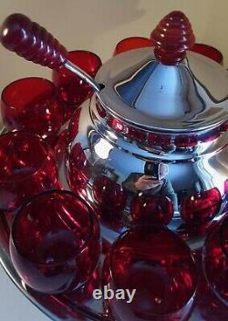 Art Deco Chrome and Ruby Glass Saturn Punch Set (Lehman Bros. 1930s)