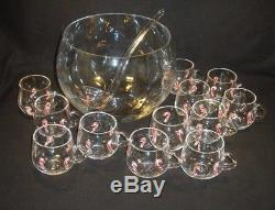 Artland Hand Blown Glass Candy Cane 14 Pc Set Punch Bowl 12 CUPS Ladle Christmas