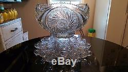 Awesome Antique Punch bowl on Rasied Base with 12 Matching Cups
