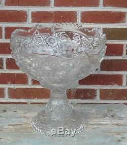 Awesome Large Grand Antique Near Cut Glass Punch Bowl