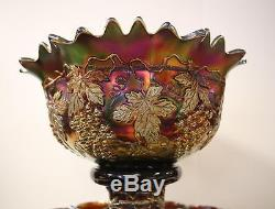 BANQUET SIZE Grape & Cable AMETHYST PUNCH BOWL, BASE AND 11 CUPS