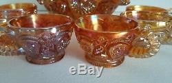 BEAUTIFUL 8 Piece Amber Carnival Glass Punch Bowl & Cups EXCELLENT CONDITION