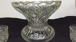 BEAUTIFUL LARGE AMERICAN BRILLIANT PERIOD CUT GLASS CENTERPIECE PUNCH BOWL 8 cup