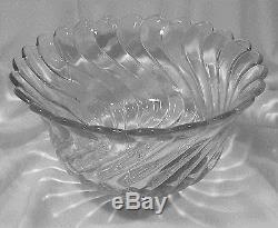 BEST $$$ FOSTORIA ELEGANT GLASS COLONY #2412 HEAVY FOOTED SWIRL PUNCHBOWL, EUC