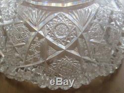 BIG ABP Cut Glass Crystal Punch Bowl & Stand Hawkes DorflingerBEAUTIFUL