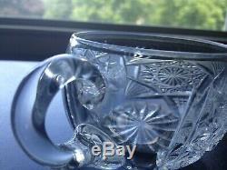 Beautiful ABP Brilliant Period Cut Glass Punch Bowl/3 Cups Meriden Pat. #136
