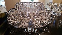 Beautiful Antique 12 Cup Punch Bowl on Matching Platter & Matching Serving Bowl