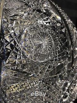 Beautiful Antique Abp 12 1/2 Super Fine Heavy Superior Cut Glass Punch Bowl