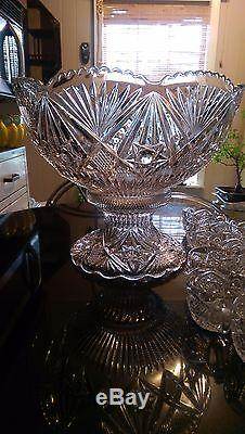 Beautiful Antique Huge Glass Punch Bowl on Glass Pedestal