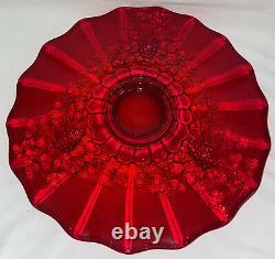 Beautiful Fenton LG Wright PANELED GRAPE RUBY 15 PC PUNCH BOWL SET
