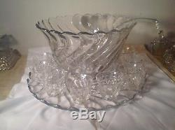 Beautiful Fostoria Colony Punch Bowl, Underplate, Twelve Cups and Ladle