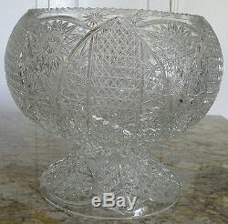 Beautiful Heavy Cut Crystal Large Punch Bowl with Base