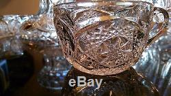 Beautiful & Huge Antique Glass Punch Bowl on Glass Pedestal & Cups