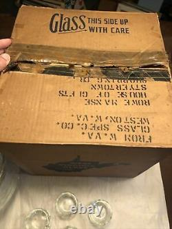 Beautiful Iridescent West Virginia Glass Punch Bowl Set In Box 14 Piece MCM