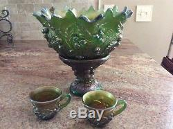 Beautiful Northwood Acorn and Burrs Iridescent green punch bowl and two cups