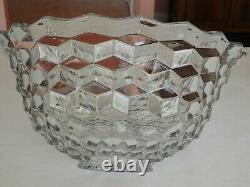 Beautiful Vintage Fostoria American Clear 18 Crystal Glass Punch Bowl