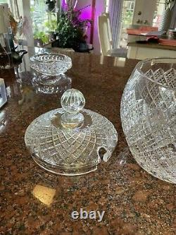 Beautiful! Waterford Crystal Pineapple lidded punch bowl with ladle