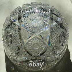 Beautiful antique American heavy 10 inch brilliant-cut lead crystal punch bowl