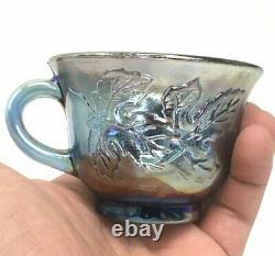 Blue Carnival Glass Harvest Grape Punch Bowl Set 12 Cups Glasses Hooks & Ladle