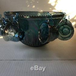 Blue Carnival Glass Harvest Grape Punch Bowl With Cups
