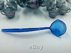 Blue Princess Punch Set 7446 26pc Indiana Carnival Glass Punch Bowl 12 Cups