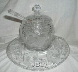 Bohemia lead cut crystal barrel punch bowl, lid, ladle, tray set x 6 cups boxed