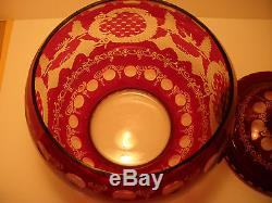 Bohemian 19 Century Rube Red Punch Bowl With 8 Matching Cups and Glass Ladle
