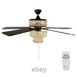 Bohemian 52 in. Indoor white punched metal ceiling fan remote crystal light
